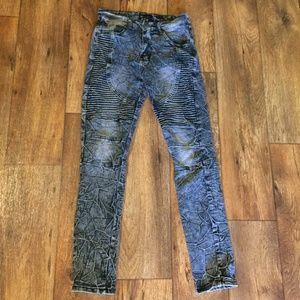 Waimea Skinny Fit Washed Moto Stretch Jeans